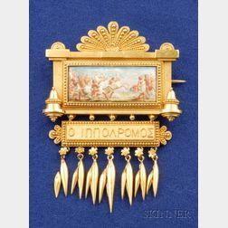 Etruscan Revival 18kt Gold and Painted Porcelain Brooch, Eugene Fontenay, France