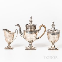 Coin Silver Teapot and Sugar Bowl with Related Sterling Silver Creamer