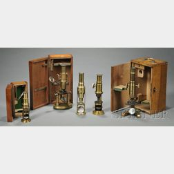 Group of Five Microscopes of Varying Design