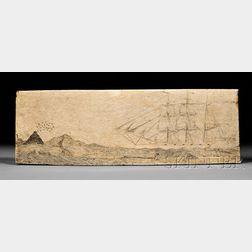 Scrimshaw Engraved Whale Panbone