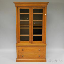 Victorian Glazed Walnut Two-door Book Cabinet over Two Long Drawers