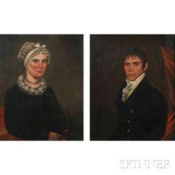American School, 19th Century      Pair of Portraits of Mr. Daniel Spraker and His Wife Eliza.