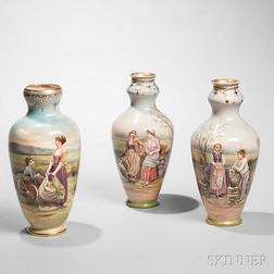 Three Royal Bonn Porcelain Figural Vases
