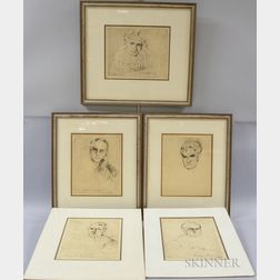 William Meyerowitz (American, 1887-1981)      Five Etchings of Supreme Court Justices