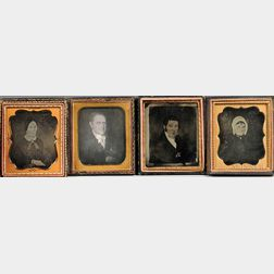 One Ambrotype and Three Sixth-plate Daguerreotypes of Folk Portraits