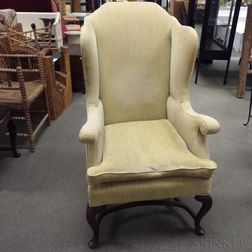 Queen Anne-style Upholstered Mahogany Wing Chair