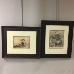 Two European Etchings in Oak Frames: Attributed to Francesco Bartolozzi (Italian, 1727-1815) After Guercino, Italianate Landscape with
