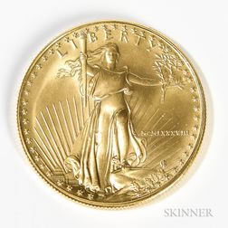1988 $50 American Gold Eagle One Ounce Gold Coin.     Estimate $1,000-1,200