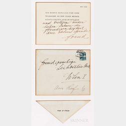 Freud, Sigmund (1856-1939) Autograph Note Signed, Vienna, 1936.
