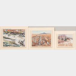 Christopher Huntington (American, b. 1938)      Three Landscapes: Below the Falls, Shin Brook ,  Shin Pond