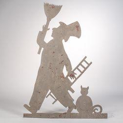 Sheet Iron Gray-painted Chimney Sweep Weathervane