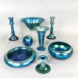 Eight Pieces of Steuben Blue Aurene Iridescent Art Glass