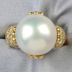 18kt Gold, South Sea Pearl, and Diamond Ring, Gump's