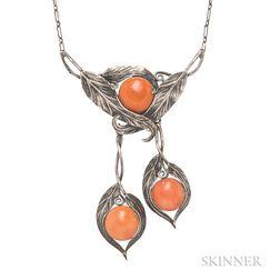 Art Nouveau Silver and Coral Lavaliere