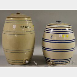 Two White and Cobalt Banded Stoneware Ice Water Coolers with Covers