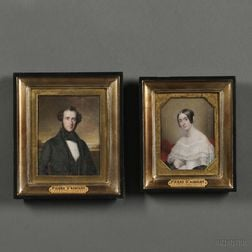 Pierre Daubigny (French, 1793-1858)      Two Miniature Portraits: Gentleman in a Black Cravat