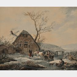 Attributed to Andries Vermeulen (Dutch, 1763-1814)      Winter Landscape with Figures and Horse-drawn Sledge Before a Thatched Cottage