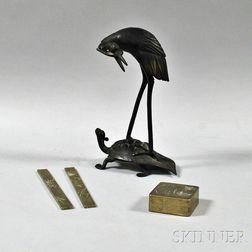Bronze Okimono and Mixed Metal Desk Set