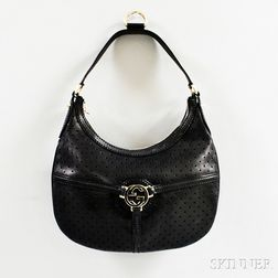 """Gucci Black Perforated Leather """"Reins"""" Hobo Bag"""