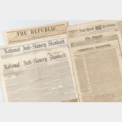 Stack of Partial and Full Mid-19th Century Newspapers