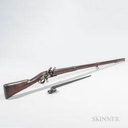 Massachusetts Militia Flintlock Musket and Model 1842 Bayonet