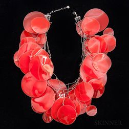 "Unusual Issey Miyake Red ""Potato Chip"" Necklace"