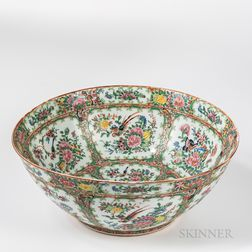 Famille Rose Export Porcelain Punch Bowl