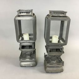 Pair of Chinese Glazed Pewter Lanterns