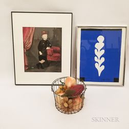 Framed Print After Matisse, an Accented Photograph of a Child, and a Wire Basket with Fruit.     Estimate $50-75