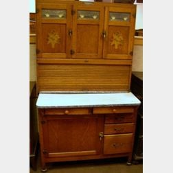 McDougall Plainview Oak Hoosier Cabinet.