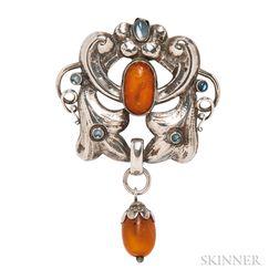 Skonvirke .830 Silver, Amber, and Moonstone Pendant/Brooch