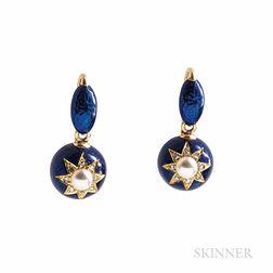 Victorian Gold and Enamel Earrings