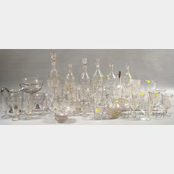 Assembled Group of Colorless Pressed Glass Stemware, Vessels, and Serving Dishes