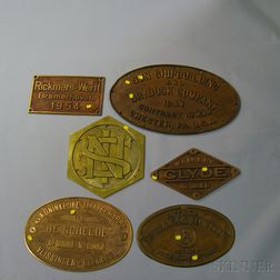 Six Brass Signs and Plaques