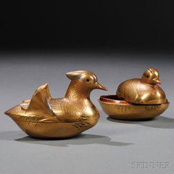 Pair of Mandarin Duck-shaped Makie   Incense Holders