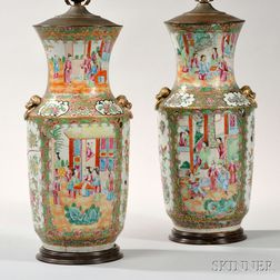 Pair of Export Porcelain Rose Medallion Vases