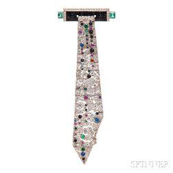 Art Deco Platinum, Diamond, and Gem-set Brooch