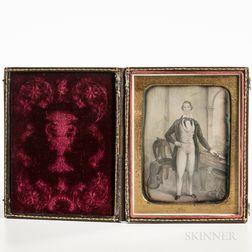 Quarter-plate Daguerreotype of a Portrait of a Gentleman
