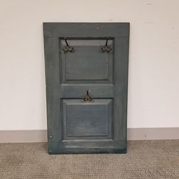 Blue-painted Panel with Hooks