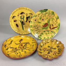Four Lester Breininger Scraffito Redware Plates