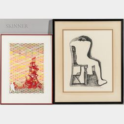 Two Framed Figural Works on Paper:    Dan Billings (American, 20th Century), Mr. Chairman