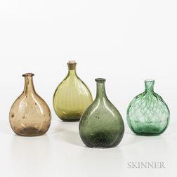 Four Small Blown Flasks