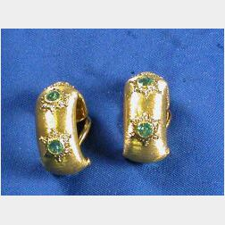 18kt Gold and Emerald Earclips