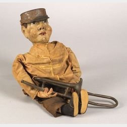 Polychrome Carved Wood Bugle Boy Figure