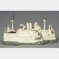 "Painted Cast Iron Battleship ""Cincinnati"" Bank"