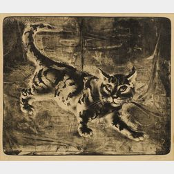 Hans Erni (Swiss, b. 1909)      Lot of Two Animal Subjects:  Chat Marchant