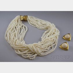 Two 14kt Gold and White Coral Items