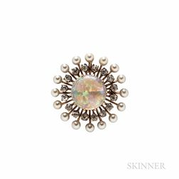 Antique Opal, Pearl, and Diamond Pendant/Brooch
