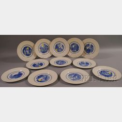 Set of Twelve Wedgwood Blue and White Amherst College Ceramic Dinner Plates.