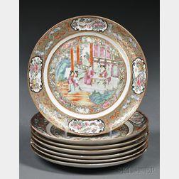 Seven Rose Mandarin Decorated Porcelain Dinner Plates
